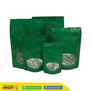 ถุงซิปล็อค ถุงฟอยด์ หน้าต่างวงรี ตั้งได้ (สีเขียว)