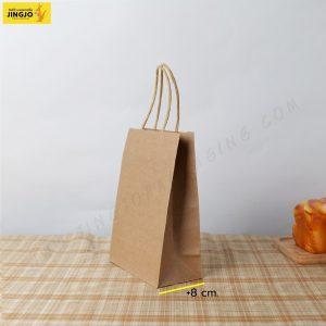 ถุงกระดาษ ถุงกระดาษคราฟท์ ถุงกระดาษหูหิ้ว สีน้ำตาล ขนาด 15x21.5 +8 ซม.