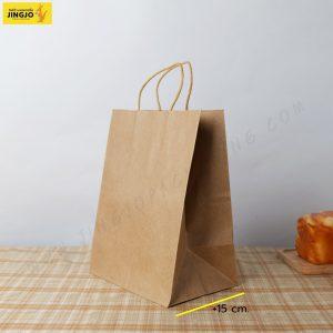 ถุงกระดาษ ถุงกระดาษคราฟท์ ถุงกระดาษหูหิ้ว สีน้ำตาล ขนาด 21x27 +15 ซม.