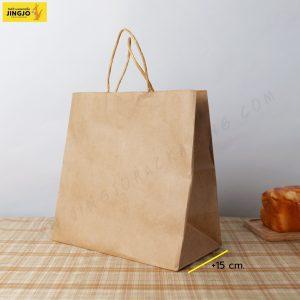 ถุงกระดาษ ถุงกระดาษคราฟท์ ถุงกระดาษหูหิ้ว สีน้ำตาล ขนาด 28x28 +15 ซม.