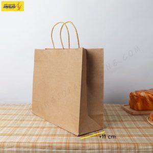ถุงกระดาษ ถุงกระดาษคราฟท์ ถุงกระดาษหูหิ้ว สีน้ำตาล ขนาด 32x27 +11 ซม.