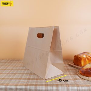 ถุงกระดาษ ถุงกระดาษคราฟท์ ถุงกระดาษหูเจาะ สีน้ำตาล ขนาด 28x28 +15 ซม.